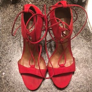 Steve Madden Red Lace Up Heels